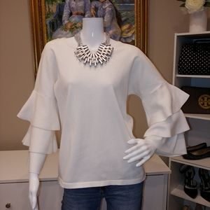 CECE BY CYNTHIA STEFF TIER RUFFLE SLEEVE SWEATER M